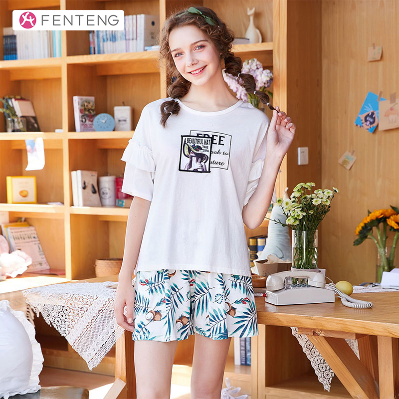 FENTENG Summer Pajamas-Sets Casual Printed Suit Women Short Sleeves 100% Cotton Homewear Female Sleepwear 2PCS P98021645