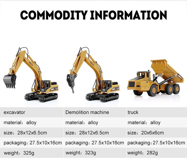 1:50 Metal Alloy Diecast Toy Excavator Truck Model Autotruck Car Model Toys For Boys Navvy Engineering Truck Collection Toys 4