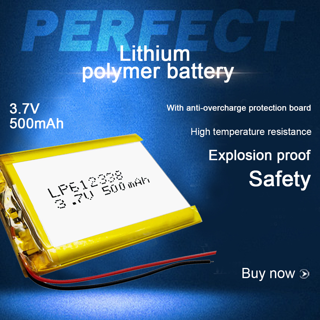 <font><b>612338</b></font> Lithium Polymer Rechargeable Battery 500mAh 3.7V Li-ion Battery for Recorder DVR GPS MP3 Cell Phone Speaker image