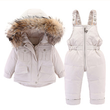 Jumpsuit Jacket Fur-Collar Warm Girls Infant Winter Children And Down for Thicken 2pcs-Set