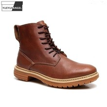 New Autumn Classic Mens Cowhide Genuine Leather Boots Vintage British Cowboy Ankle Boots Fashion Casual Men High Top Work Shoes