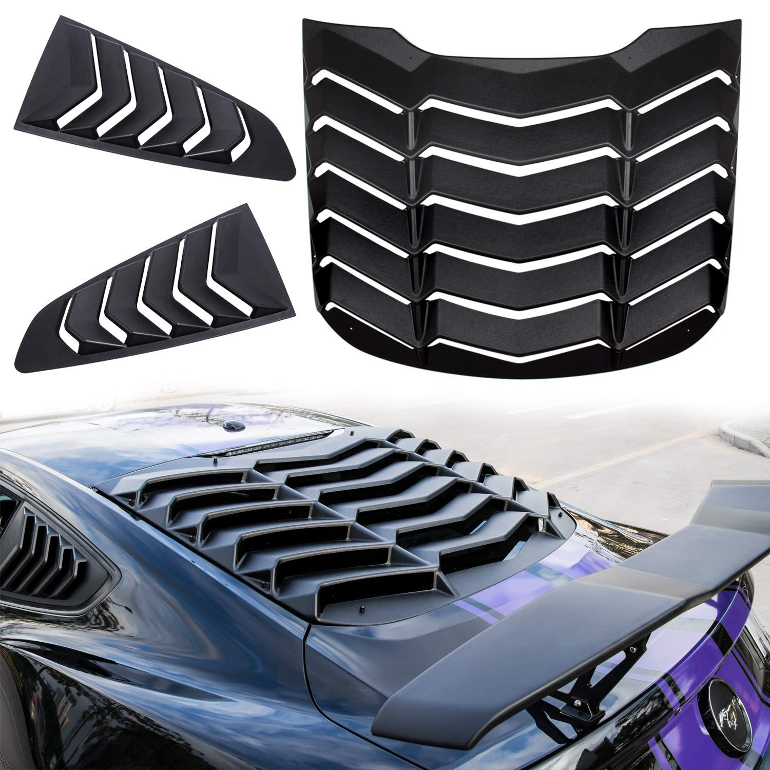 Side Window Scoop Louver Cover Vent Matte Black for Ford Mustang 15 16 17 18