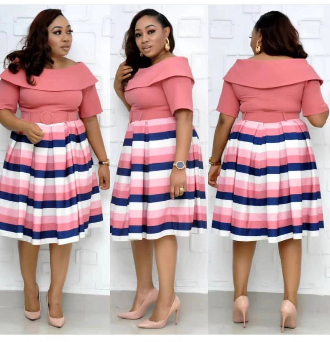 2019 New Arrival Autumn Sexy Fashion Style African Women Printing Plus Size Knee-length Dress L-3XL