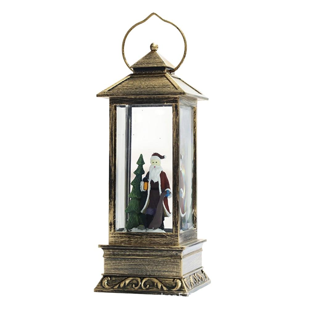 1PC Hanging Lantern Glowing Glass Rectangular Christmas Light Snow Lantern Hanging Lamp For Festival Decoration