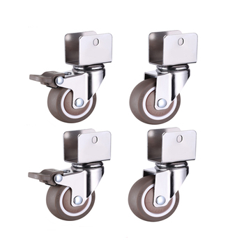 "1.5"" Furniture Crib Casters Cabinet Clamp with Brake Wheels Soft Rubber Swivel Caster Furniture Hardware Fittings Pack of 4"