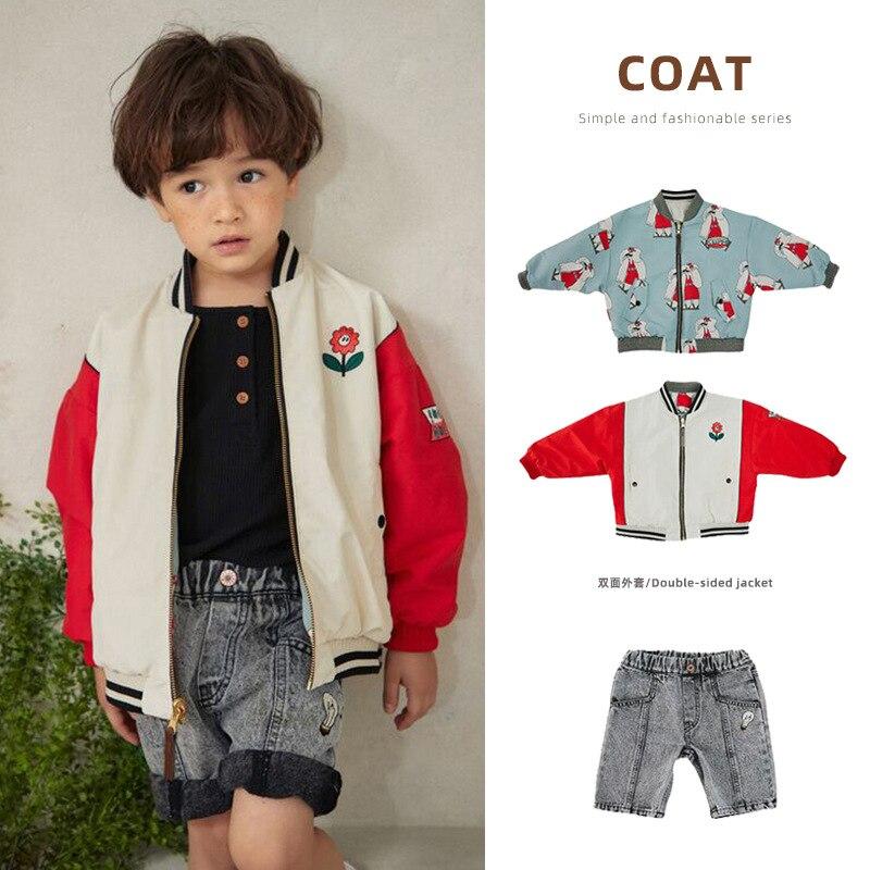 Новая весенняя куртка для мальчиков и девочек корейская детская Двусторонняя куртка на молнии с мультяшным принтом 2021