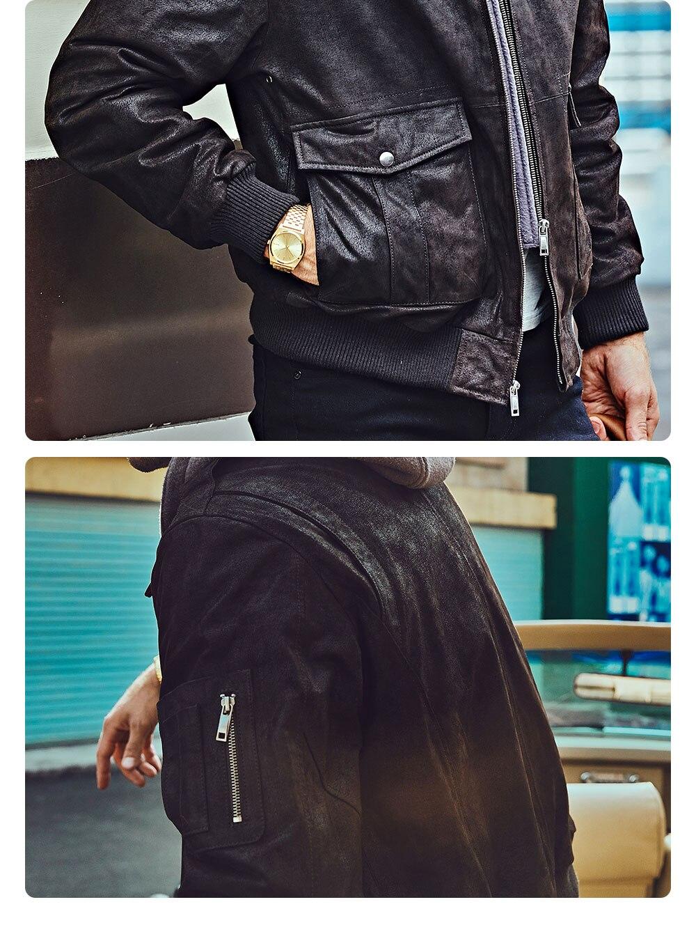 H562716f6700d4bbebc6fdac60270827b5 FLAVOR New Men's Genuine Leather Bomber Jackets Removable Hood Men Air Forca Aviator winter coat Men Warm Real Leather Jacket