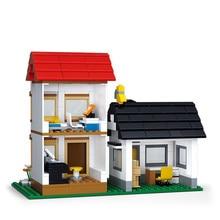 SLUBAN 0573  Large Scene Building Blocks Bricks Toys Forge World Mini sluban Double villas Christmas Gift Legoingly