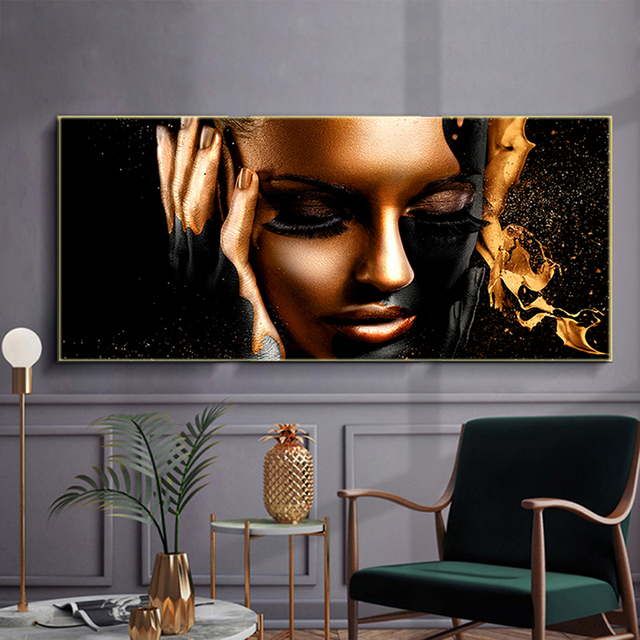Black Gold Nude African Woman Oil Painting on Canvas Posters and Prints Scandinavian Wall Pictures for Living Room No Frame