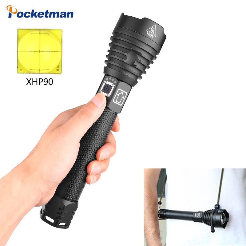 Самый мощный светодиодный фонарь XHP90 с 110% яркостью, фонарь с зумом, зарядка через USB, для использования 2*26650 батареи, долгое время освещения, лучший кемпинг