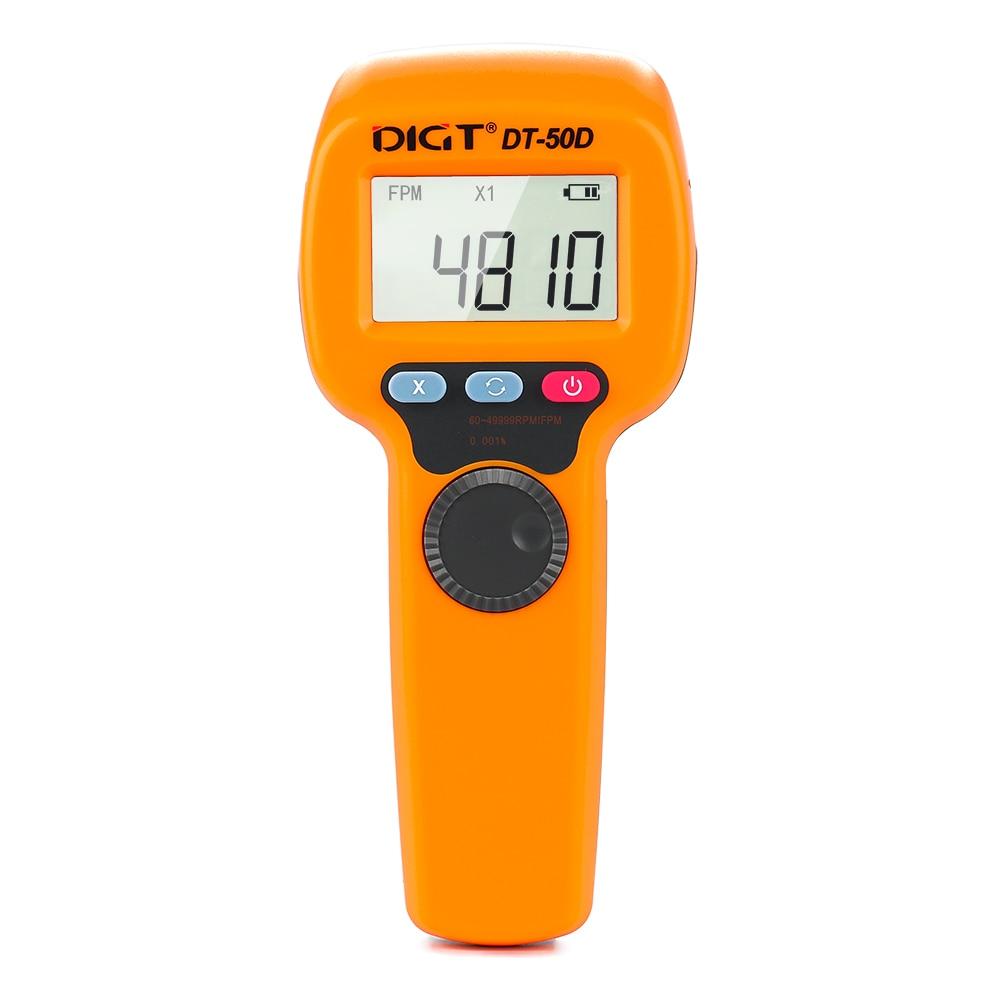 DT50D Digital LCD Non-Contact Flash Stroboscope Tachometer Photoelectric Revolution Meter Speedometer Tester 60~49999RPM