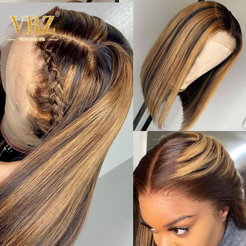 Ombre Honey Blonde 13x6 Lace Front Human Hair Wigs Bob Straight 360 Lace Frontal Wig Full Pre Plucked Highlight Brown Color VRZ