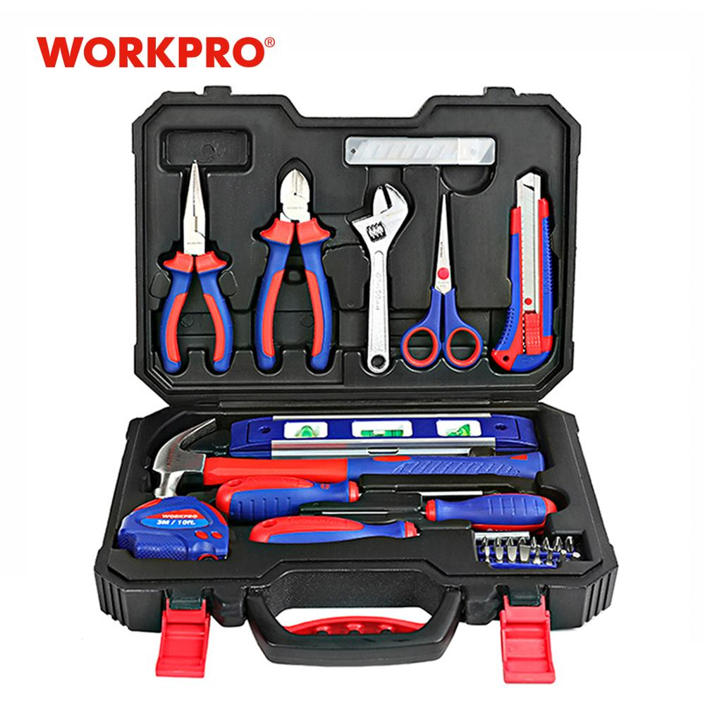 WORKPRO 28PC Home Tool Set Household Tool Kits Screwdrivers Pliers Scissor Knife Hammer