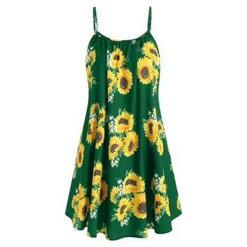 women Sunflower Print dress Crisscross Back A Line Cami Dress Summer Spaghetti Strap Dress High Waist Sleeveless Dresses #w 2