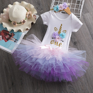 Toddler Girls First Birthday Dress Unicorn Party Tutu Baby Infant Christening Cake Dresses Kids 1 Year Baby Girl Birthday Dress(China)