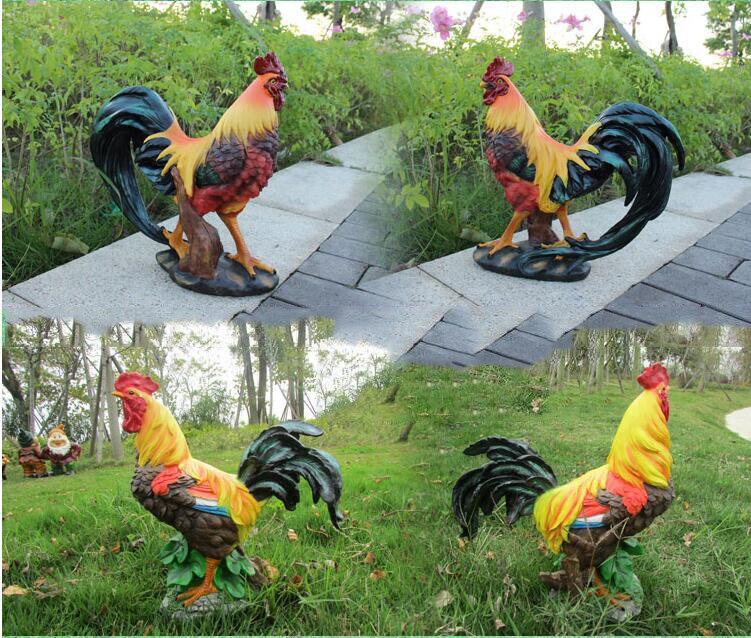 Simulation Chicken 2Pcs Resin Cock Hen Decoration Chicken Ornament