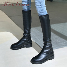Meotina Winter Riding Boots Women Natural Genuine Leather Flat Knee High Boots Slip on Round Toe Shoes Ladies Autumn Size 34-39 цены онлайн