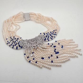 18'' 9 Strands Freshwater Cultured White Pearl blue beads Necklace CZ Pendant