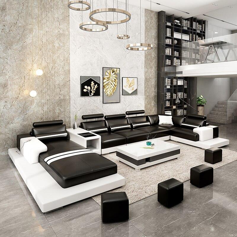 Nowoczesna minimalistyczna skórzana sofa w kształcie głowy z głową w kształcie głowy