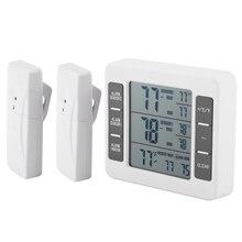 Беспроводной цифровой Морозильник Термометр Бытовая Температура внутри и снаружи датчик с звуковым холодильник с сигнализацией термометр