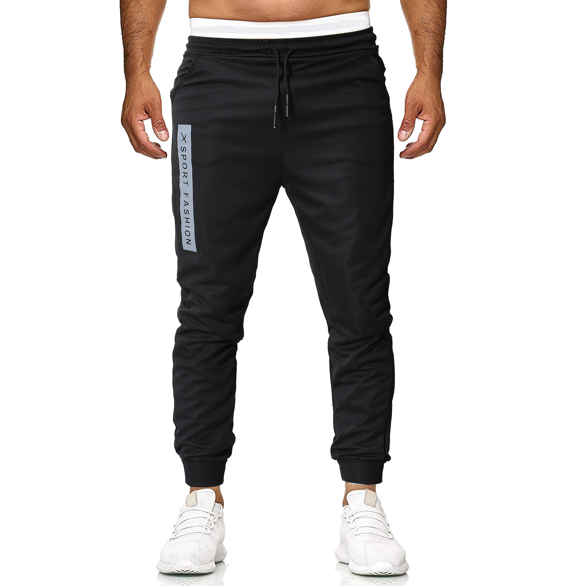 AliExpress New Style Casual Pants Men's Large Size Capri Pants With Drawstring Sports Running Training Men's Trousers