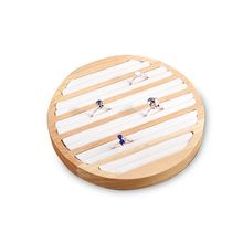Bamboo Wooden Ring Display Tray Round 6 Long Slot Leather Insert Jewelry Storage Box