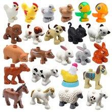 Tamanho grande blocos de construção acessórios animais fazenda figuras porco coelho frango pato cão gato pássaro cavalo vaca ovelhas criança brinquedos diy presentes