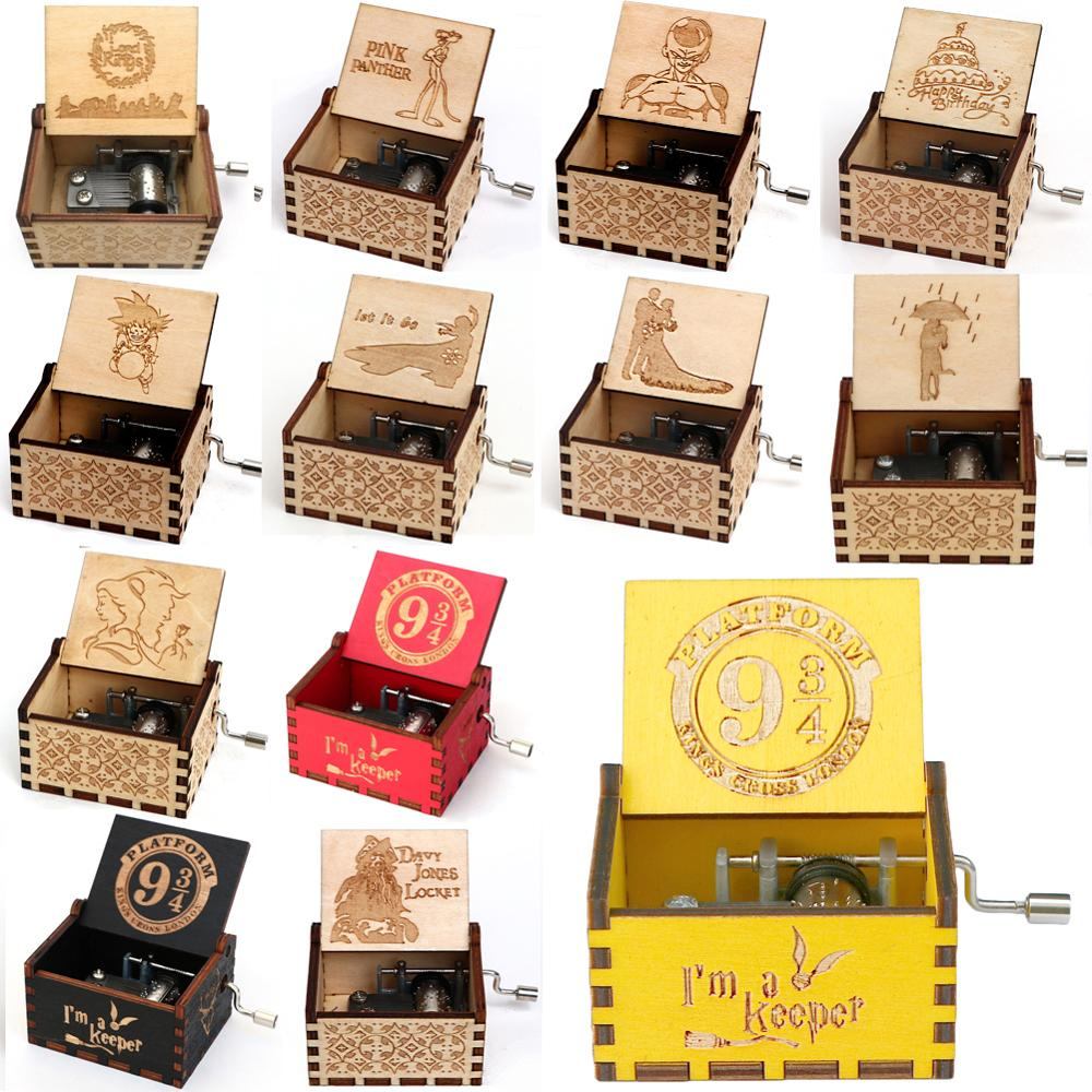 Wooden Hand Crank Music Box Party gift Lord of the Rings Engraving wood Musical Box Christmas Gift