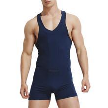 Casual Men Vest Bodysuit One-piece Shorts Jumpsuit Tank Top Plain Loung