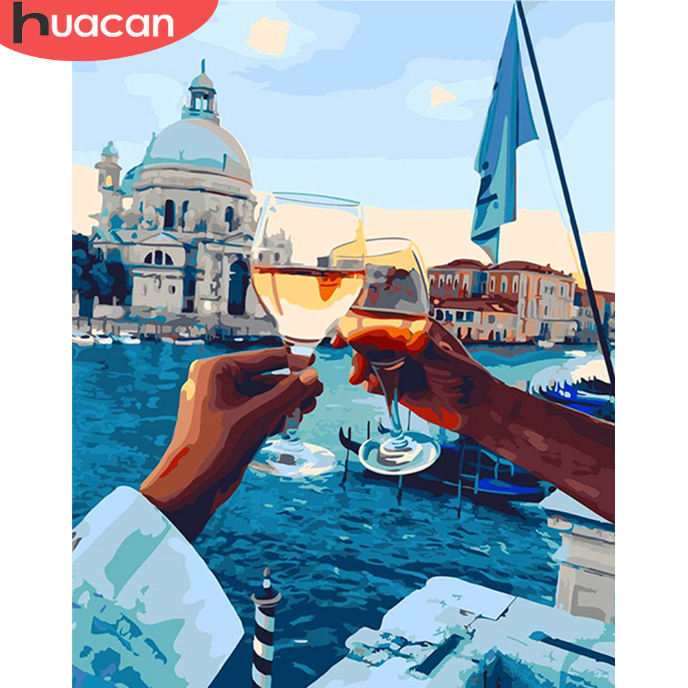 HUACAN DIY Oil Pictures By Numbers Venice Landscape Painting Scenery Kits Drawing Canvas HandPainted Home Decor