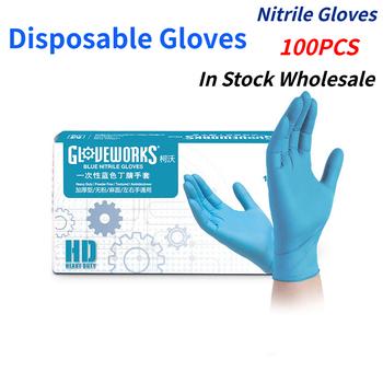 100PC nitrylowe jednorazowe rękawice wodoodporne lateks bezproszkowy rękawice do gospodarstwa domowego kuchnia laboratorium rękawice do sprzątania #2021 tanie i dobre opinie CN (pochodzenie)