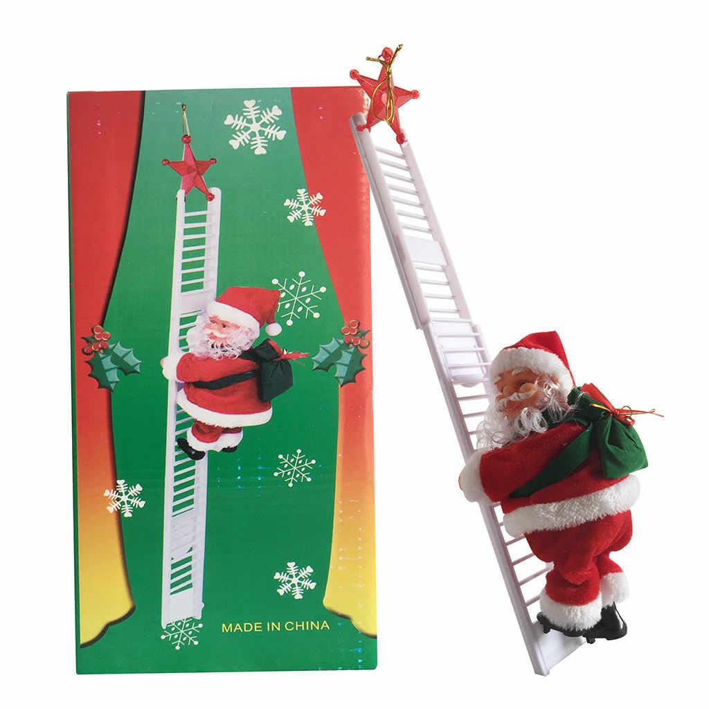 الكهربائية سانتا كلوز الكهربائية تسلق سلم سانتا كلوز عيد الميلاد تمثال زخرفة الهدايا المنزل سطح المكتب الموسيقى سانتا ديكور دمية