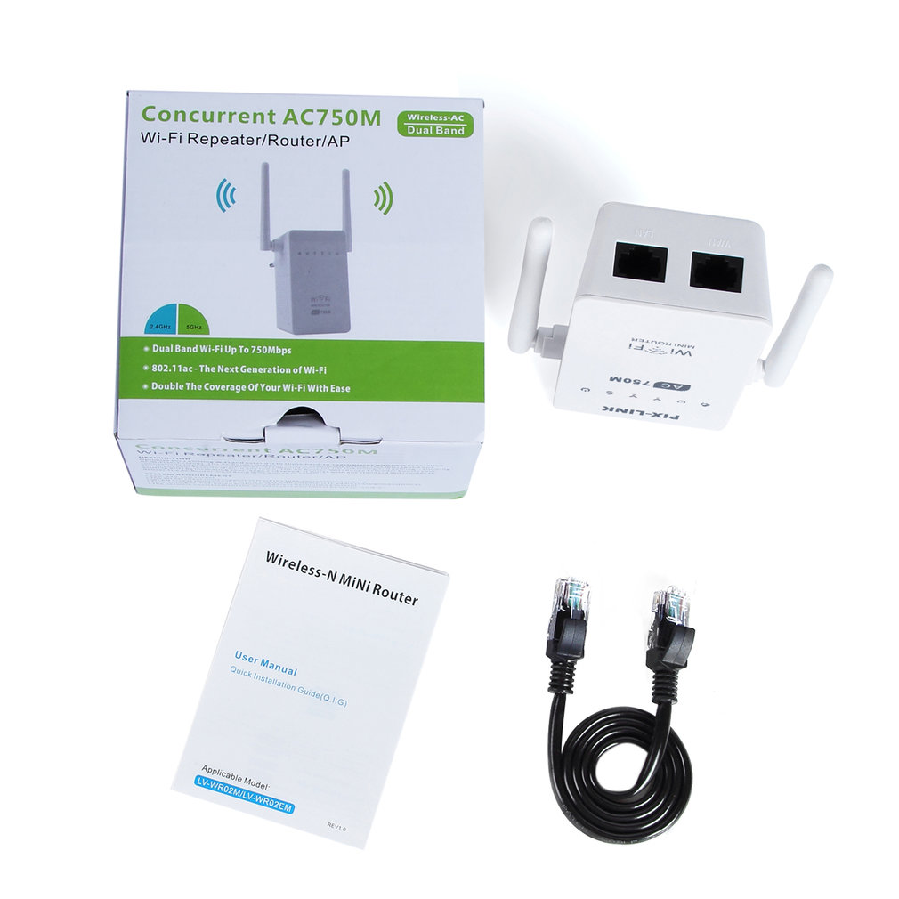Concurrent WiFi Range Extender AC750M Dual Band Wireless AP/Repeater/Router 2.4Ghz/5Ghz External Antenna US EU UK