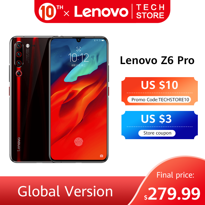 Global Version Lenovo Z6 Pro Snapdragon 855 Octa Core 8GB 128GB 48MP Rear Quad Cameras 6.39