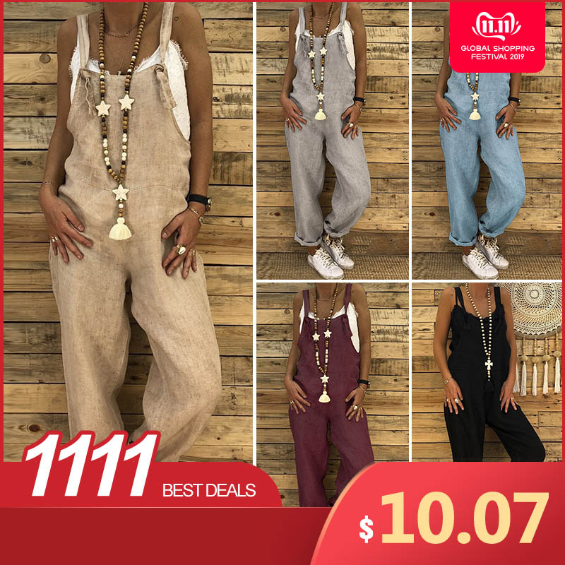 S 5XL ZANZEA 2019 Women Casual Solid Strappy Dungarees Vintage Cotton Linen Loose Party Long Harem Overalls Rompers Jumpsuits