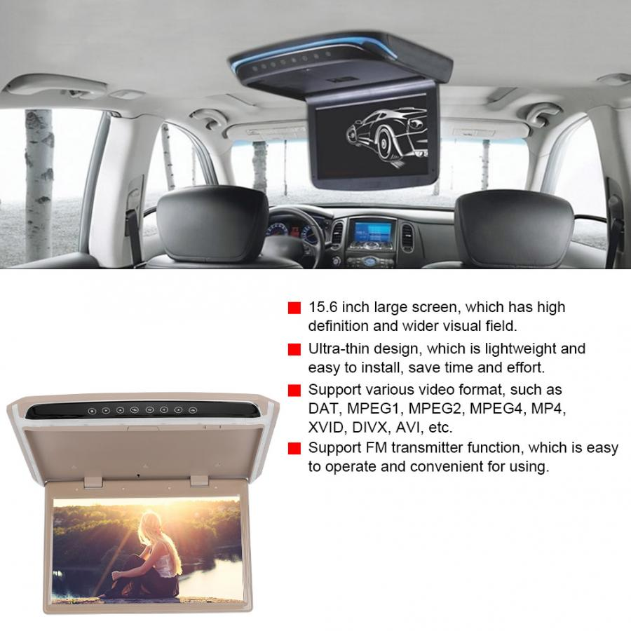 Car Auto 15.6in TFT Ceiling Roof Video 1080P HD Monitor Screen USB TF HDMI Media Player Car Monitor