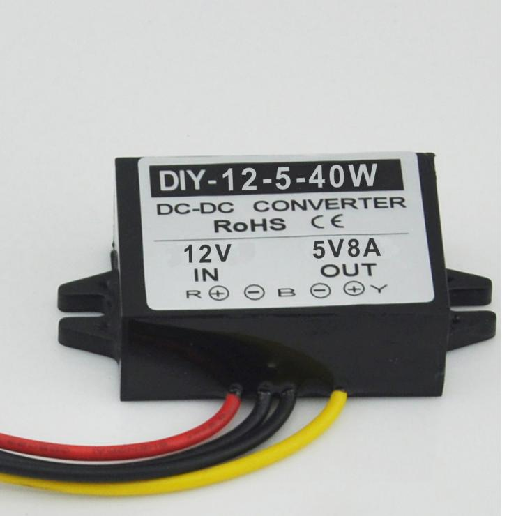 12V Step Down 5V 8A 40W Power Converter LED Car Display Power Supply Voltage Regulator Waterproof DC-DC Buck Module
