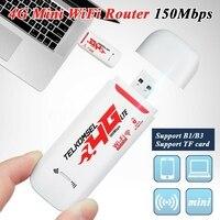 Portátil 4g/3g lte carro wifi roteador hotspot 150mbps sem fio usb dongle móvel de banda larga modem sim cartão desbloqueado