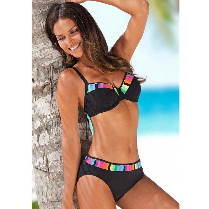 Bikini Set 2019 Push Up Swimwear Women Retro Swimsuit Solid Plus Size Swimwear Vintage Bikinis Women Biquini Bathing Suit M-XXXL