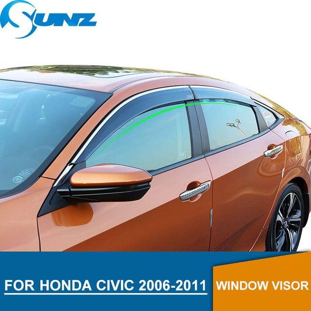 Janela lateral defletores para honda civic 2006 2007 2008 2009 2010 2011 janela escudo capa janela viseira ventilação sombra sunz