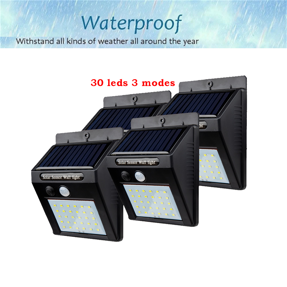 2/4PCS 30 LED Solar Motion Sensor Light Outdoor Wall Lamp Waterproof Solar Powered Light With 3 Intelligent Modes 3 LEDs Both Si