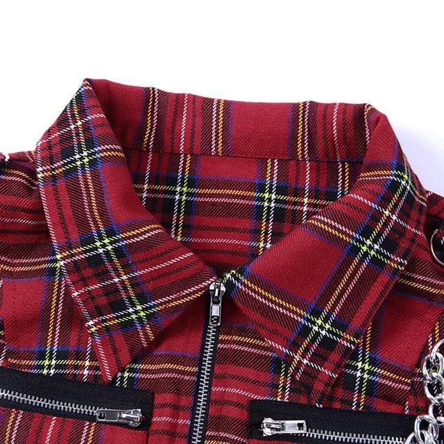 Women/'s Gothic Vest Tank Crop Top Waistcoat Punk Chain Check Plaid Shirt Zip Tee