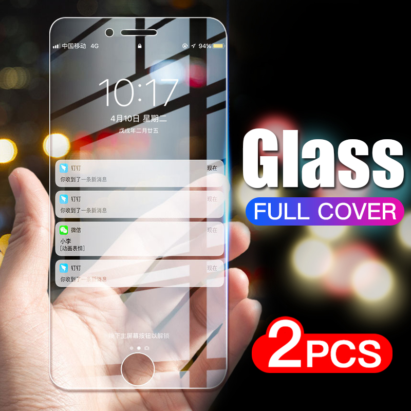 2Pcs Full Cover Glass On The For IPhone 7 8 Plus 6 6s 5 5s Se Tempered Glass For IPhone X Xr 11 Pro Xs Max 7 8 Screen Protector