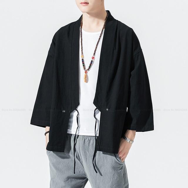 Męskie japońskie Kimono szata Haori bluzka w stylu chińskim żuraw haftowany strój Tang Hanfu koszula suknia swobodny kardigan Streetwear płaszcz