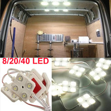 8/20/40 led kit de luz telhado do carro van interior iluminação teto carga para campista dentro da lâmpada para rv barco reboque caminhões van