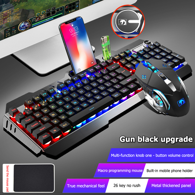 104 Keys Mechanical Feel Wired Gaming Keyboard Mouse Set Metal Phone Holder RGB Backlit Mouse Keyboard Set for Desktop Laptop PC 1