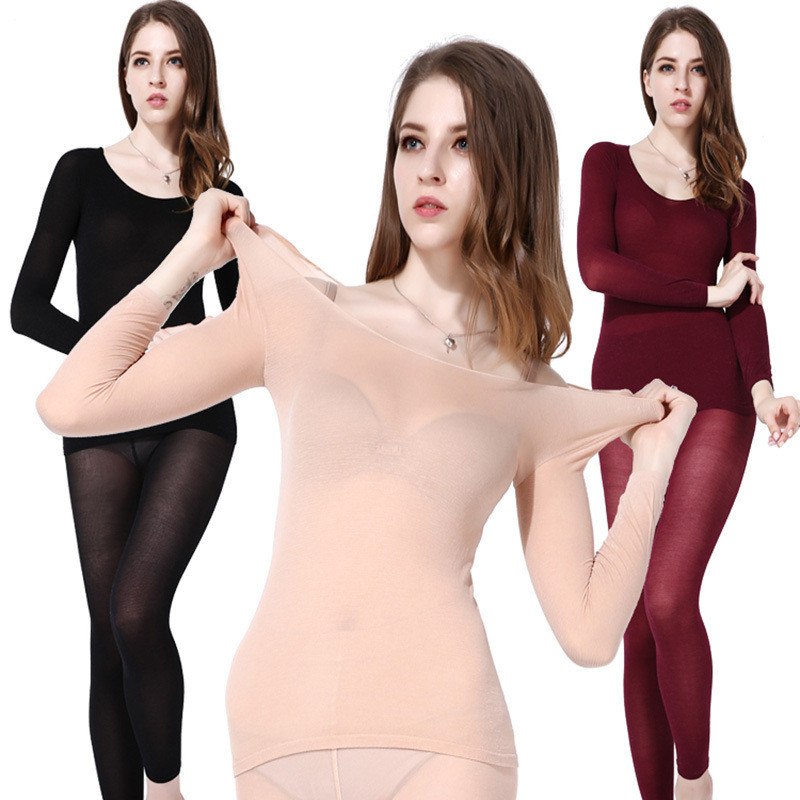 Winter 37 Degree Constant Temperature Thermal Underwear For Women Ultrathin Elastic Women Body Shaped Slim Ladies Long Johns