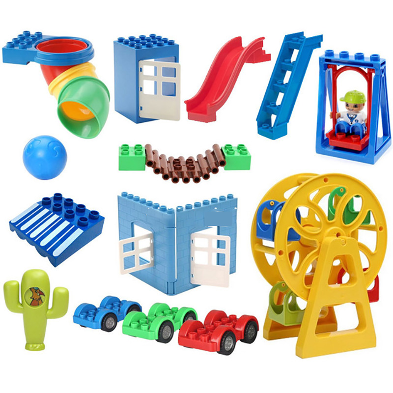 Duploed Assembly Big Building Blocks Bricks Tree Traffic Signs Hook Rotatable Accessories Compatible Duplo Baby Toys Sets Gift