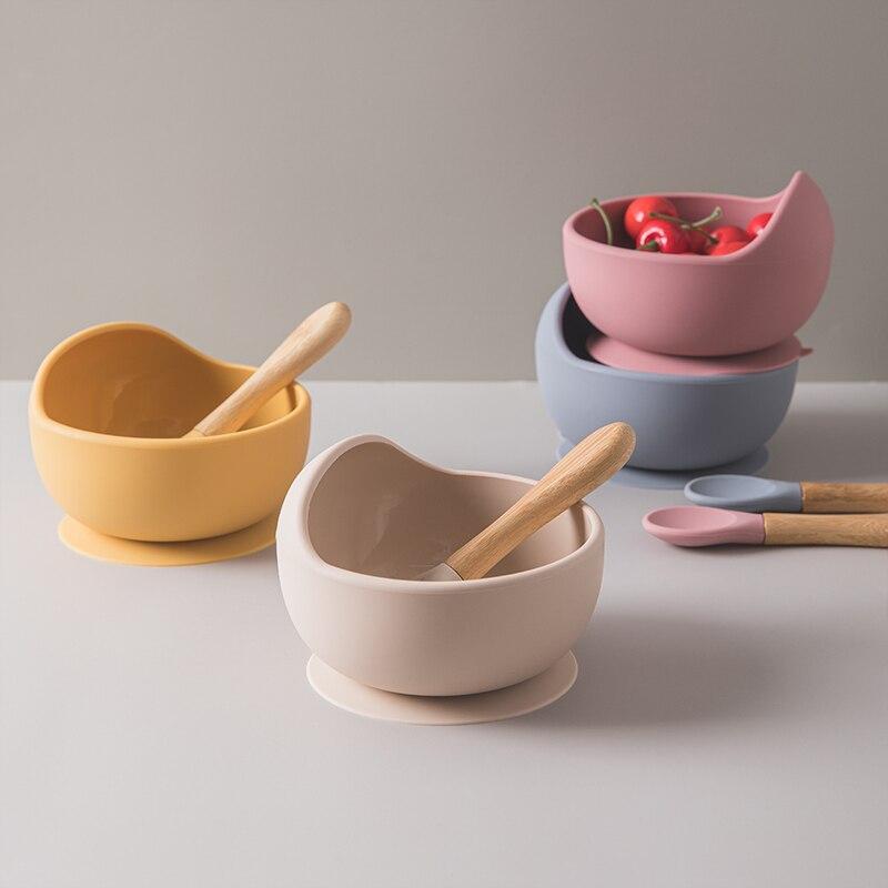 1 Набор, детская силиконовая миска, набор для кормления, детская посуда, ложка, водонепроницаемая, с защитой от протекания, вращающаяся чаша, ...