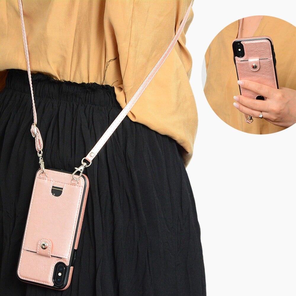 KISSCASE sac de t l phone en cuir PU fente pour carte Coque sacs de t